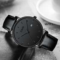 Reloj de pulsera de cuarzo con fecha a prueba de agua minimalista ultradelgado para hombre reloj de cuero genuino negro