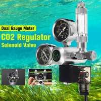 220 V precisa acuario CO2 regulador G5/8 magnético solenoide válvula acuario contador de burbujas de tanque de peces herramienta CO2 control