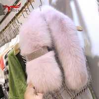 Hiver madame fourrure de renard herbe longue écharpe vraiment fourrure laine collier garder au chaud écharpe épaississement Joker