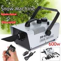 110 V/220 V 600 W Mini ráfaga máquina de nieve etapa efecto + remoto con cable para vacaciones etapa Snowmaker de Nieve jabón máquina de espuma