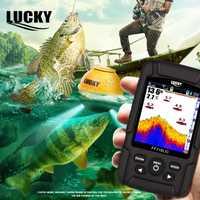 Suerte portátil Fishfinder profundidad Echo Sounder LCD resistente al agua 100 M buscador de peces inalámbrico 45 m/147 pies Sonar ruso menú FF718LiC-WL