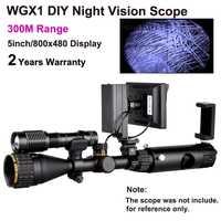 WGX1 300 M Rango de visión nocturna alcance con 5 w láser linterna de caza noche visión Riflescope NV alcance Monocular en las ventas