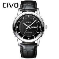 CIVO 2019 reloj de cuero genuino negro de marca de lujo para hombre relojes con calendario de fecha a prueba de agua reloj de cuarzo analógico