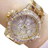 Femmes montres Quartz diamant montre de luxe haut tendance marque montre-bracelet montre de mode dames bijoux en cristal montre en or Rose