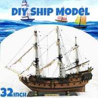 DIY, conjunto hecho a mano, barco a escala de 32 pulgadas, barco de vela de madera, Kit de modelo de barco, montaje hecho a mano, decoración de regalo para niños
