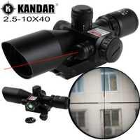 KANDAR 2,5-10X40 rojo iluminar compacto táctico caza Rifle alcance láser rojo caza rastro táctico 11mm/20mm Moount
