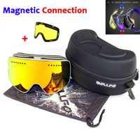 Magnético de doble capas lente gafas de esquí máscaras Anti-niebla UV400 Snowboard gafas de esquí gafas para los hombres y mujeres con caso