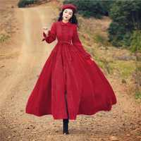 2018 Otoño y invierno nuevo vestido rojo retro PANA delgada literaria big swing largo femenino viaje holiday casual vestido