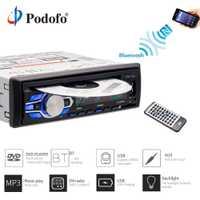 Podofo auto Radio estéreo de Audio MP3 jugadores de DVD reproductor de CD 1DIN 12 V coche manos libres Indash Autoradio BT con Control remoto reproductor de DVD