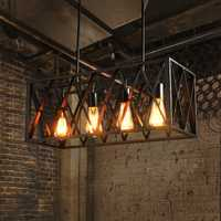 Retro rectangular lámpara para sala de estar dormitorio cocina loft lámparas Industrial negro rectangular lámpara colgante