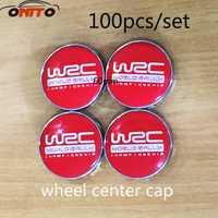 Al por mayor 100 piezas 60mm rojo WRC coche llantas cubierta emblema de la insignia del coche del centro de rueda Hub Caps Coche estilo