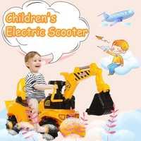 2019 nouveau scooter électrique pour enfants avec la voiture d'ingénierie de jouet de voiture de torsion d'excavatrice de musique peut s'asseoir et monter