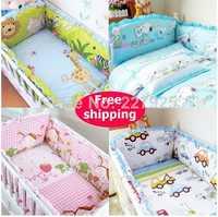 Recién Nacido bebé parachoques Sest 100% algodón cuna parachoques de dibujos animados Unisex cama seguro alrededor del Bebé Ropa de cama + hoja + funda de almohada 6 piezas