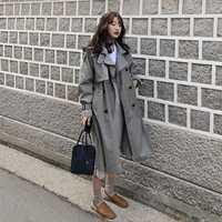 Style coréen femmes décontracté lâche tranchée avec des ceintures 2019 nouveauté printemps long élégant manteaux dames Pardessus Survêtement