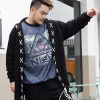8XL 7XL 9XL hombres suéter de punto Otoño Invierno sólido simplemente estilo Jersey Casual suéter hombre negro Outerwea
