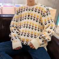 Suéter para hombre 2018 otoño invierno nuevo patrón coreano Harajuku Popular o-cuello suéter masculino suelto blanco naranja suéter