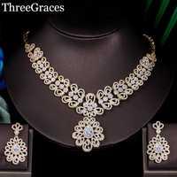 Threegraces Dubai oro Boda nupcial collar pendiente Micro pavimentado de lujo Zirconia Nigeria conjunto de joyas para mujeres JS077