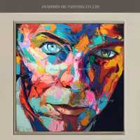 Nuevo hecho a mano pop cantante retrato pintura David Bowie Cara cuchillo pintura al óleo arte de pared para sala decoración carácter abstracto