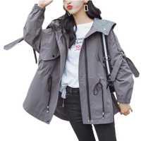 Otoño chaqueta mujeres chaqueta suelta de gran tamaño con capucha cremallera Vintage bolsillo fibra de poliéster chaqueta