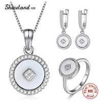 Conjuntos de joyas de plata de ley 925 shinland pendientes de gota de cerámica blanco y negro para mujer, anillo de collar para regalo de boda