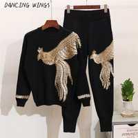 Automne Femmes 2 Pièces Chandail Costumes Main Perles Paillettes Phoenix Motif Tricoté Pull Tops Casual Pantalon
