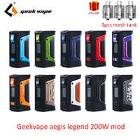 Regalo gratis GeekVape auspicios mod auspicios leyenda 200 W TC caja MOD alimentado por Dual 18650 e cigs No batería Para zeus rta blitzen