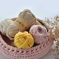 1000g (10 bolas)/lote de 30 m de hilo de fantasía para tejer hilo grueso de ganchillo de color caramelo Hilados de tela cinta tejida a mano sombrero de lana artesanal