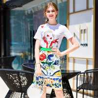 2018 Primavera Verano blanco reina de manga corta T-shirt + mini vintage retro imprimir falda conjuntos de dos piezas (UL118)