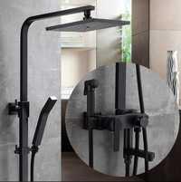 Lujo Bañeras Sala aceite negro cepillado cuadrado ducha de lluvia, ducha antiguo grifo de latón Bañera y ducha grifo, montado en la pared