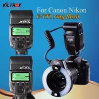 Viltrox JY-670C/n Cámara LED TTL macro anillo de luz de flash speedlite para Canon 1300D 800D 77D 5D II Nikon d90 D7500 D5600 810D D5