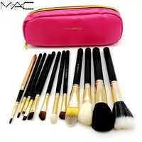 MAC 12 piezas maquillaje en polvo Fundación sombra de ojos hacer cosméticos suave pelo sintético base mac