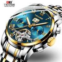 Relojes de esqueleto TEVISE Mes reloj mecánico automático reloj de acero para hombres reloj impermeable para hombres