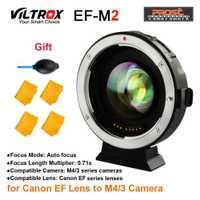 Viltrox EF-M2 AF Auto-enfoque EXIF 0.71X reducir la velocidad de adaptador de lente Turbo para Canon EF lente para M43 cámara GH4 GH5 GF6 GF1