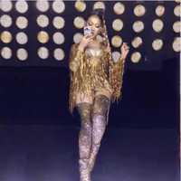 Oro flecos strass Sexy mono mujeres danza Jazz gran elástico leotardo traje de noche mostrar una-pieza Sexy traje de desgaste