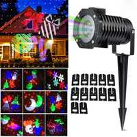 Impermeable luz láser proyector 12 diapositivas en movimiento al aire libre de la Navidad copos de nieve del jardín de la lámpara LED luz de la etapa