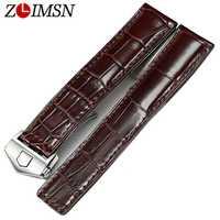 ZLIMSN Brun Bracelet en Crocodile homme femme De Luxe Alligator En Cuir bracelet de montre 19mm 20mm 21mm Bracelet peut être personnalisé Taille