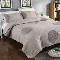 Sólido Beige blanco 100% algodón 3 piezas colcha conjunto flor patrón acolchado colcha cubierta de cama sábanas colcha de cama Cubrecamas