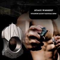 Alta calidad TC4 de aleación de titanio táctico mujeres anillo de los hombres al aire libre EDC-herramienta de defensa de cristal regalo de Navidad Dropshipping. exclusivo.