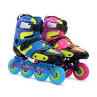 Niños fibra de carbono patines en línea zapatos para niños profesional patinaje Azul S M L 30-38 FSK slalom para SEBA
