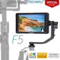 FEELWORLD F5 5 pulgadas en cámara DSLR Monitor de campo 4 K HDMI Full HD IPS 1920x1080 ayuda de enfoque DC de entrada salida incluyen inclinación brazo