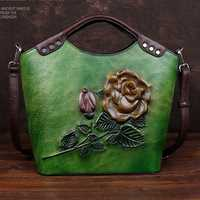 Cuir véritable Vintage Floral Top poignée épaule femme sacs première couche peau de vache loisirs Messenger en relief sac femmes sac à main