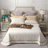 Beige gris marrón de alta calidad cómodo de franela de algodón de verano manta gruesa colcha cubierta de cama hoja de cama fundas de almohada 3 piezas