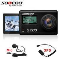 Cámara de Acción SOOCOO S200 4 k Cámara deportiva con funda impermeable micrófono externo micrófono GPS WiFi 2,45 pulgadas táctil pantalla de Gyro