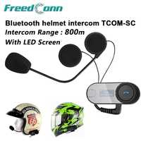 Antu-recibir llamadas de teléfono de la motocicleta Intercomunicador de Bluetooth moto Intercomunicador BT Interphone casco auricular Freedconn TCOM-SC