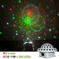AUCD 110/220 V DMX512 láser RG Gobos mixto, RGBYPW LED efecto cristal grande discoteca BOLA MÁGICA DJ KTV, partido Casa de iluminación de escenario
