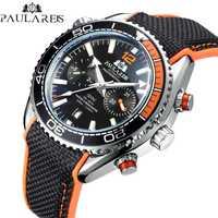 Hommes automatique auto vent mécanique toile caoutchouc James Bond 007 Style Orange bleu multifonction Date mois Sport montre