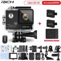 Cámara Original del deporte NT96660 4 K 24fps ULTRA HD 16MP WiFi 30 m impermeable acción cámara Extra 2 piezas batería + cargador de batería Dual
