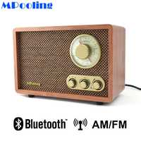 MPooling de mesa de madera de AM/FM Radio Retro Vintage clásico de Radio Bluetooth agudos y bajo Control altavoz incorporado AC110 ~ 130/220 ~ 240 V