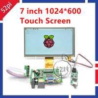 52Pi 7 pulgadas 1024*600 Monitor TFT LCD pantalla táctil resistiva + HDMI VGA 2AV para Raspberry pi/PC Windows