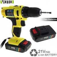 AC100-240 V 21 V destornillador eléctrico con 2 baterías de litio y dos-ajuste de la velocidad de botón para el manejo de tornillos de perforación